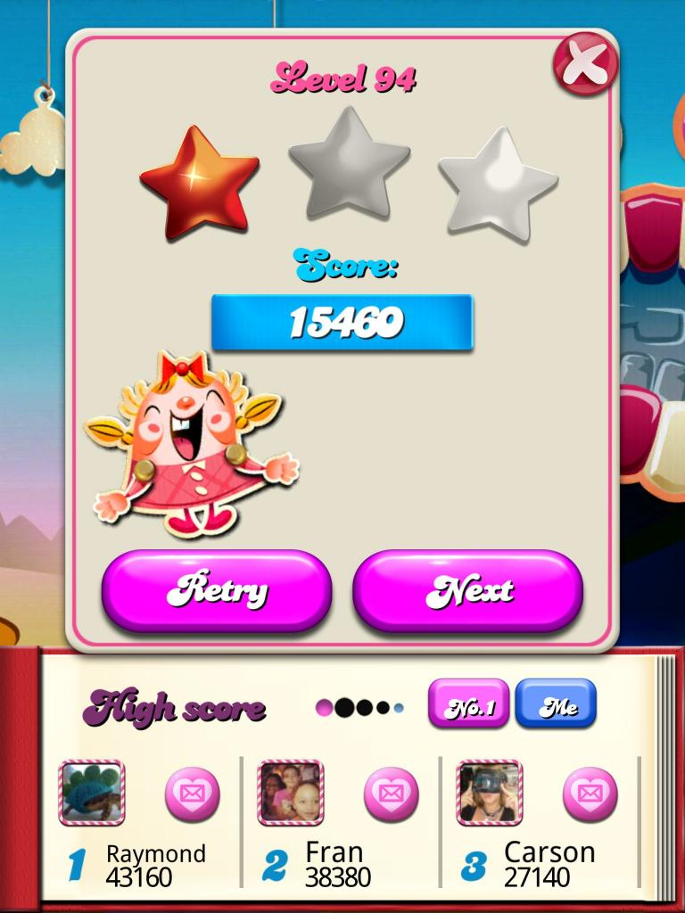 Candy Crush Saga: Level 094 15,460 points