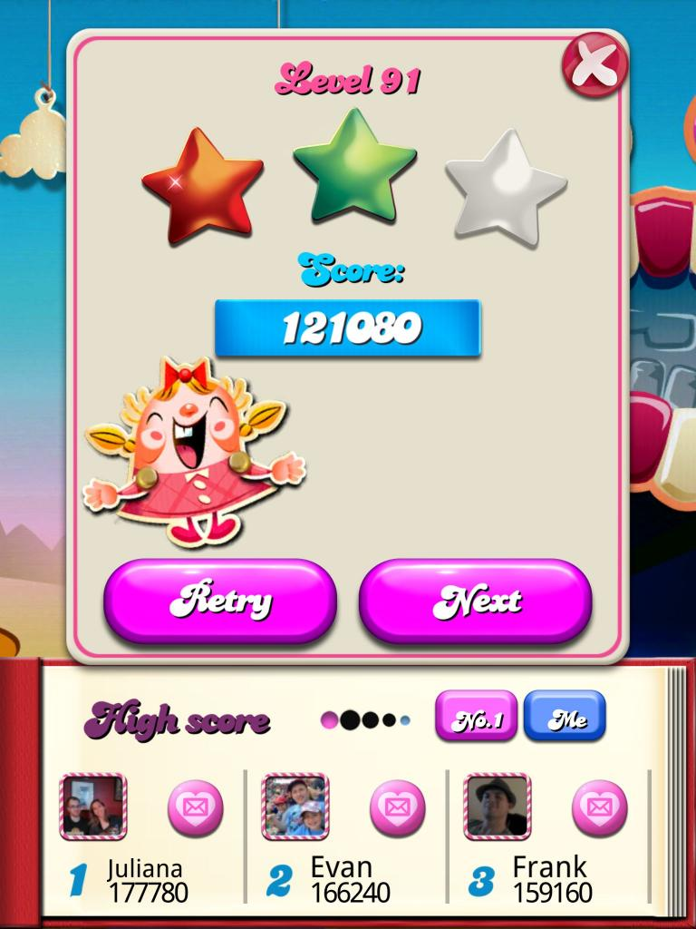 Candy Crush Saga: Level 091 121,080 points
