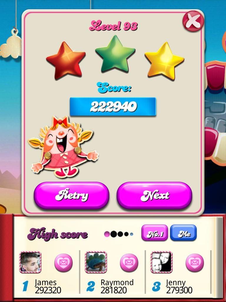 Candy Crush Saga: Level 093 222,940 points
