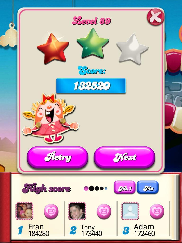 Candy Crush Saga: Level 089 132,520 points