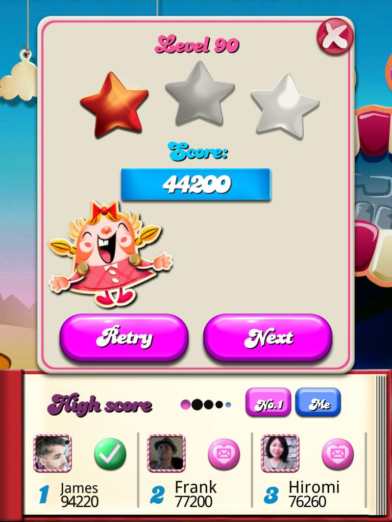 Candy Crush Saga: Level 090 44,200 points