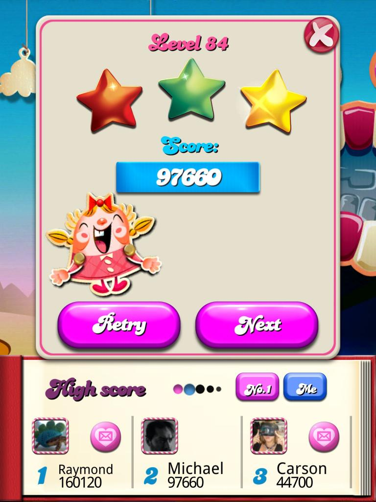 Candy Crush Saga: Level 084 97,660 points