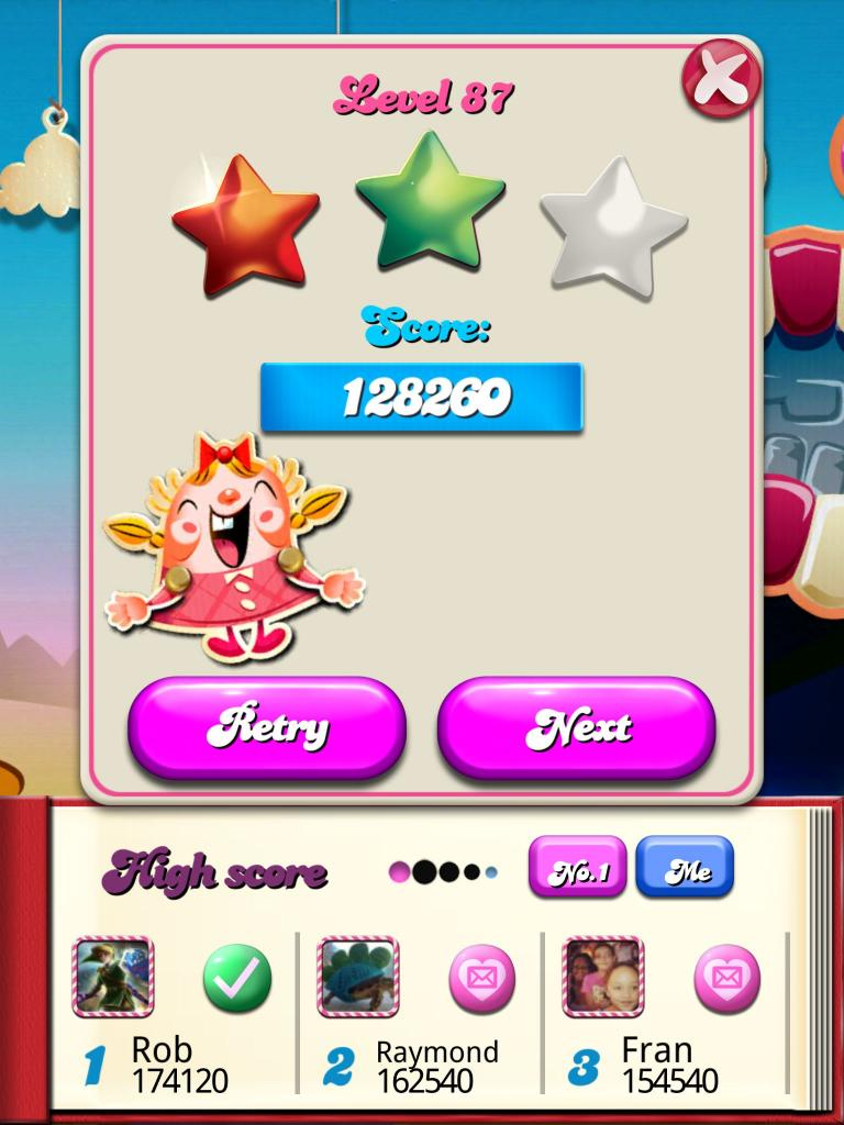 Candy Crush Saga: Level 087 128,260 points