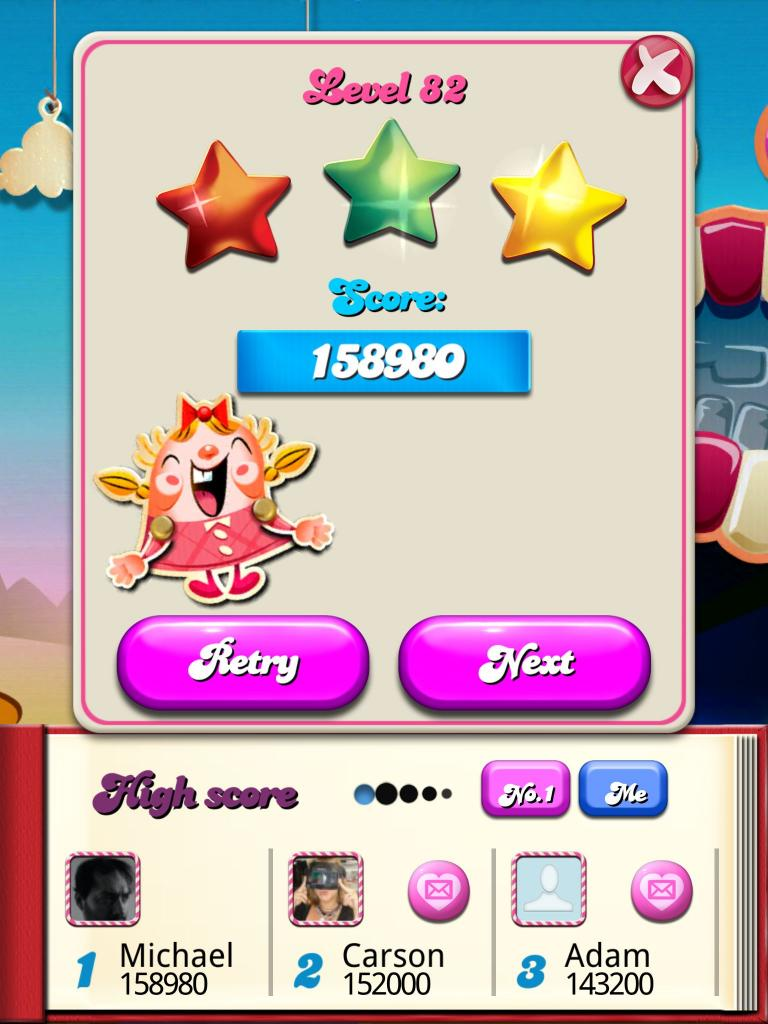 Candy Crush Saga: Level 082 158,980 points