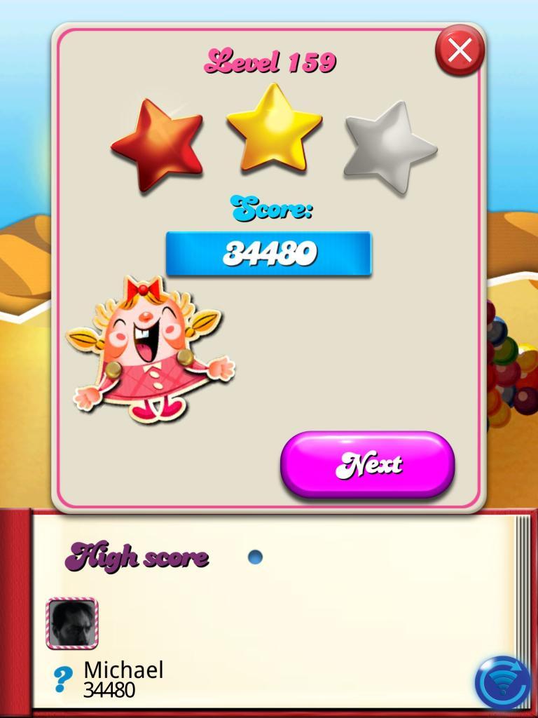 killersquirel: Candy Crush Saga: Level 159 (iOS) 34,480 points on 2013-10-14 08:10:13