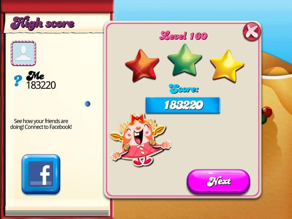 Candy Crush Saga: Level 160 183,220 points