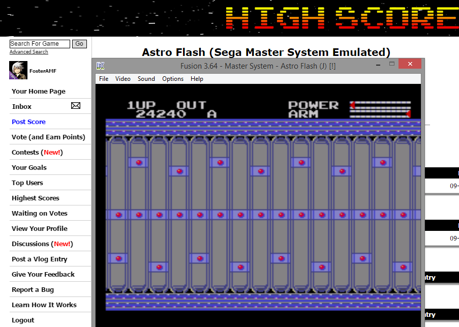 FosterAMF: Astro Flash (Sega Master System Emulated) 24,240 points on 2014-10-29 13:35:11