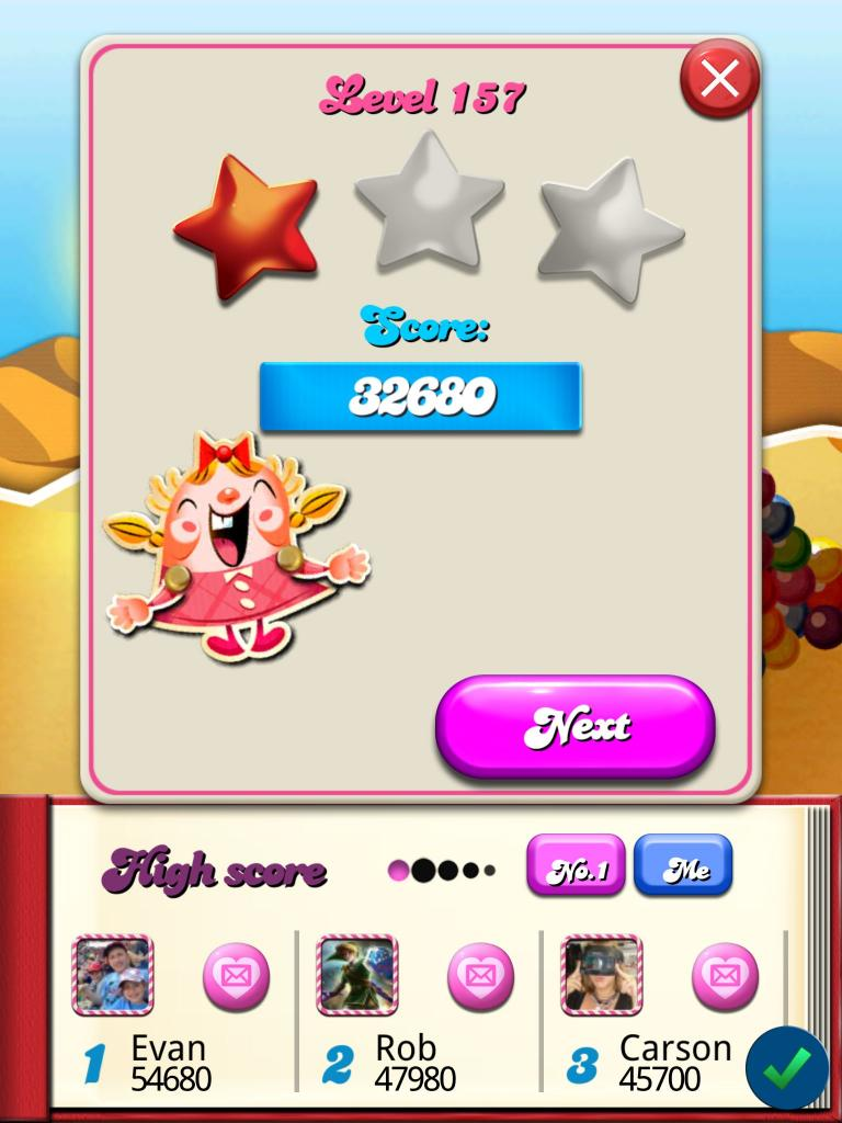 Candy Crush Saga: Level 157 32,680 points