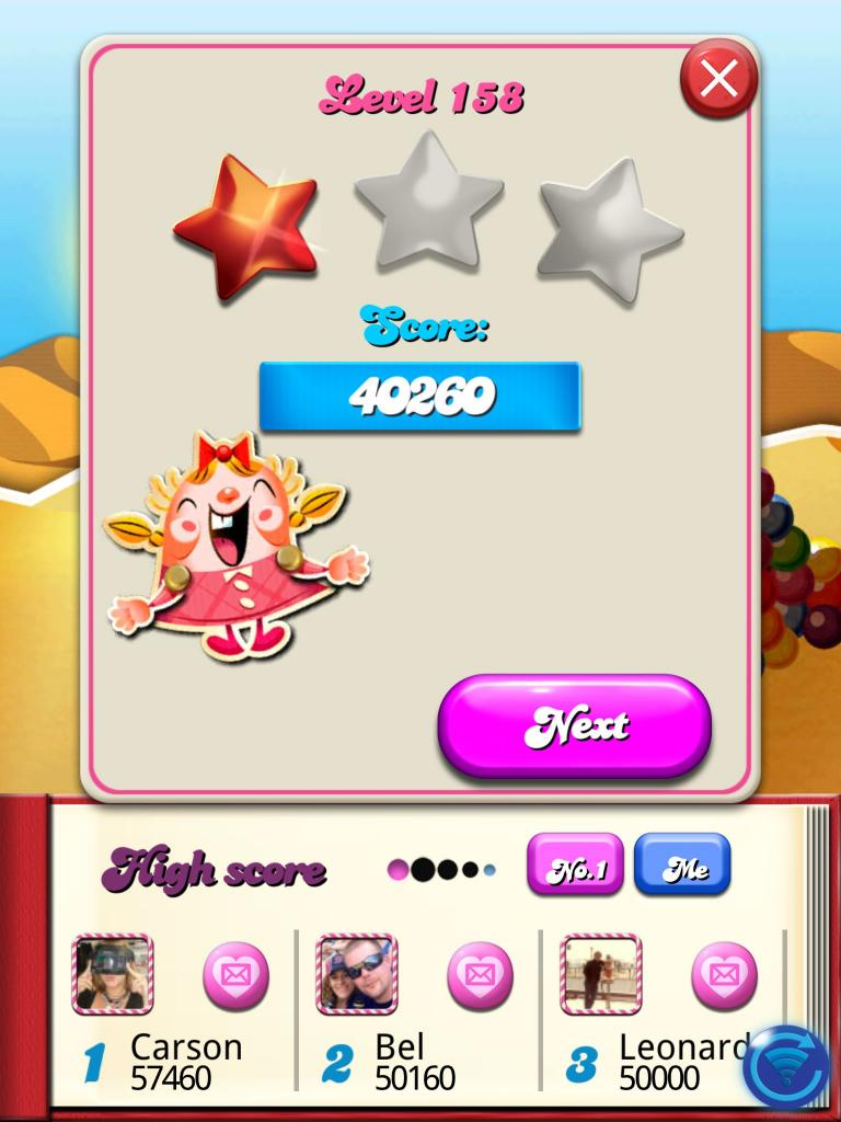 Candy Crush Saga: Level 158 40,260 points