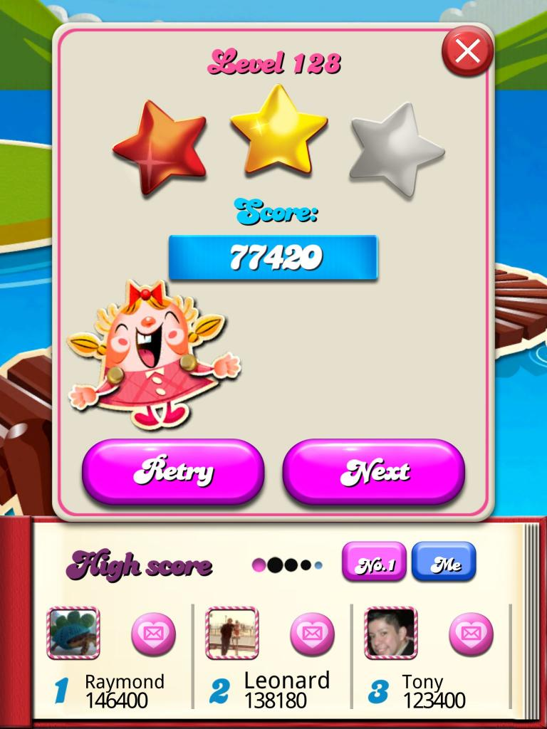 Candy Crush Saga: Level 128 77,420 points