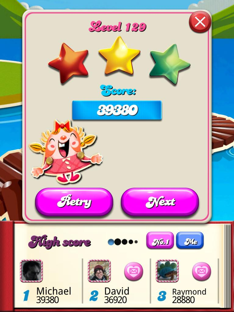 Candy Crush Saga: Level 129 39,380 points