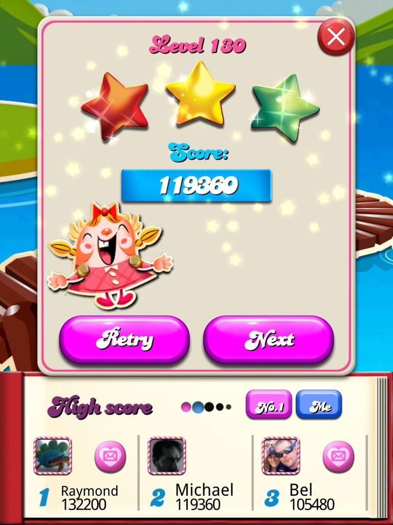 killersquirel: Candy Crush Saga: Level 130 (iOS) 119,360 points on 2013-10-14 08:16:37