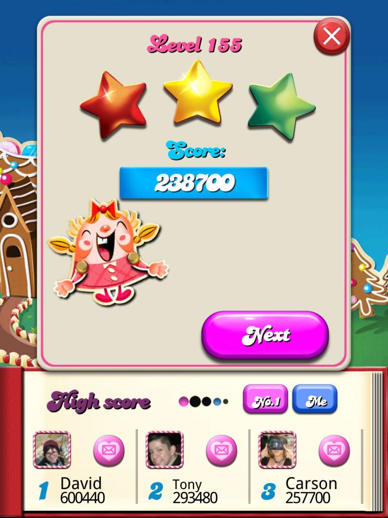 Candy Crush Saga: Level 155 238,700 points