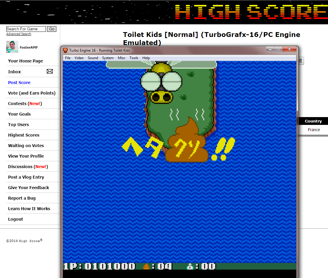FosterAMF: Toilet Kids [Normal] (TurboGrafx-16/PC Engine Emulated) 101,000 points on 2014-10-30 16:57:37