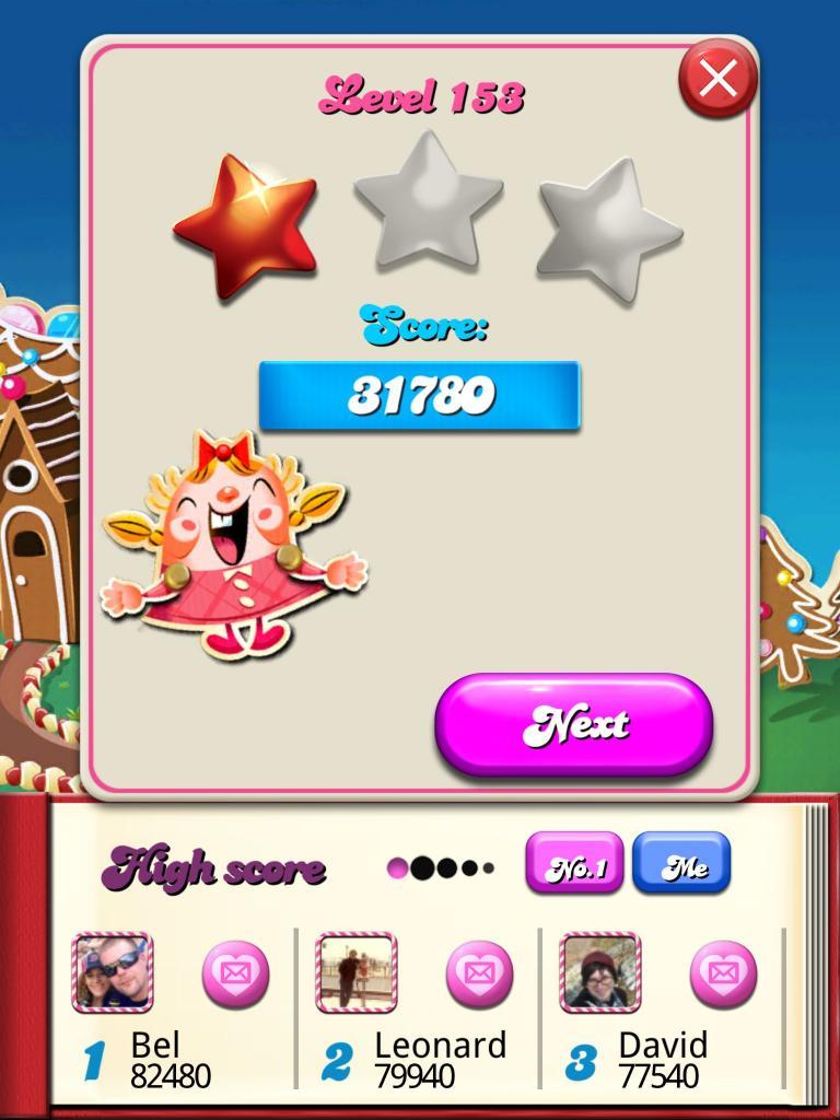 killersquirel: Candy Crush Saga: Level 153 (iOS) 31,780 points on 2013-10-14 08:21:50