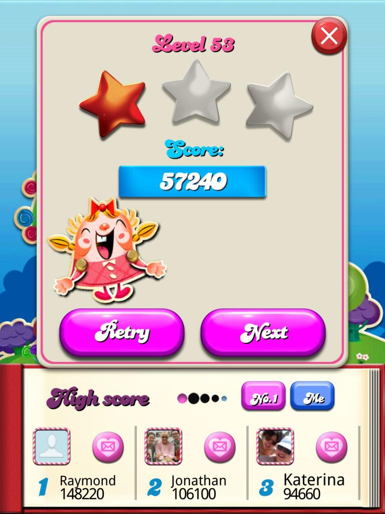 Candy Crush Saga: Level 053 57,240 points