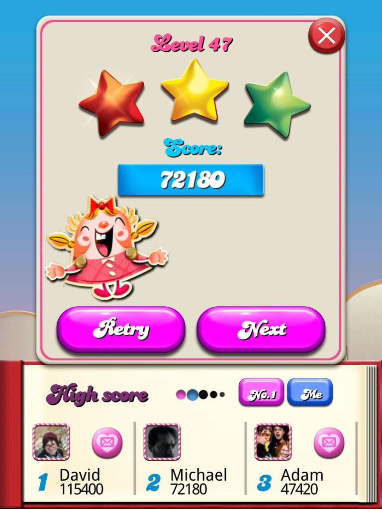 Candy Crush Saga: Level 047 72,180 points