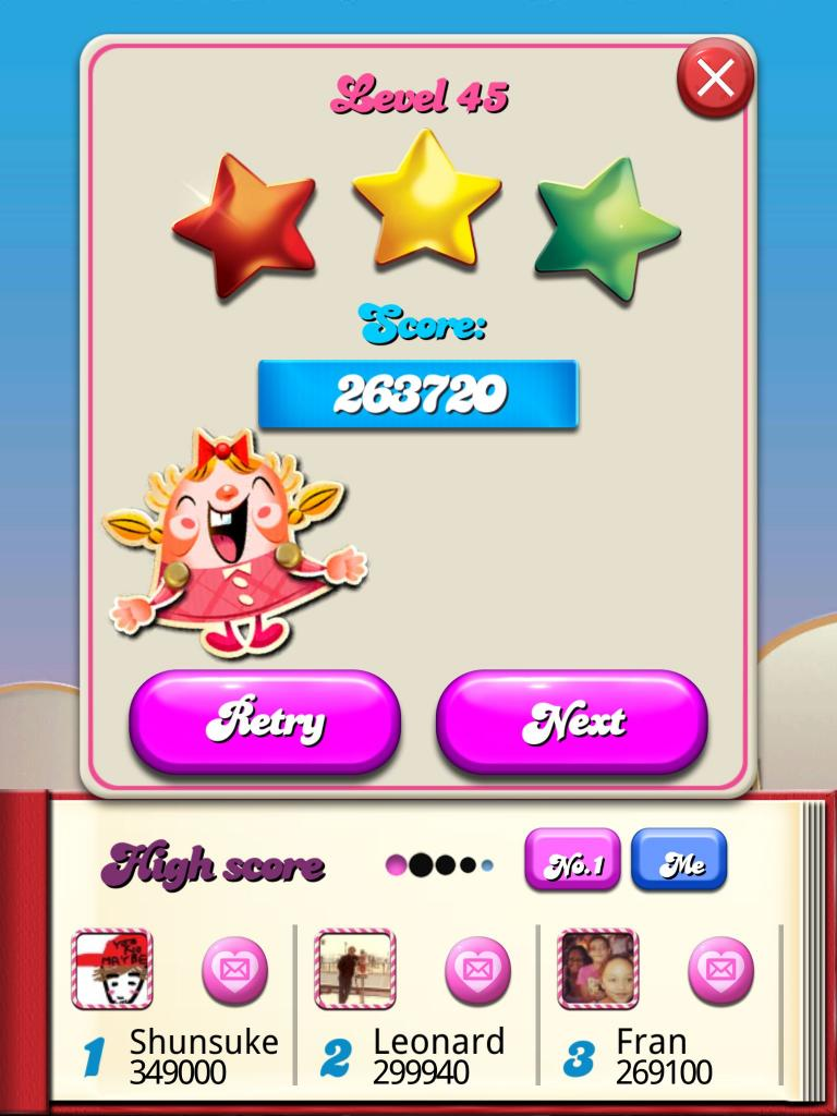 Candy Crush Saga: Level 045 263,720 points
