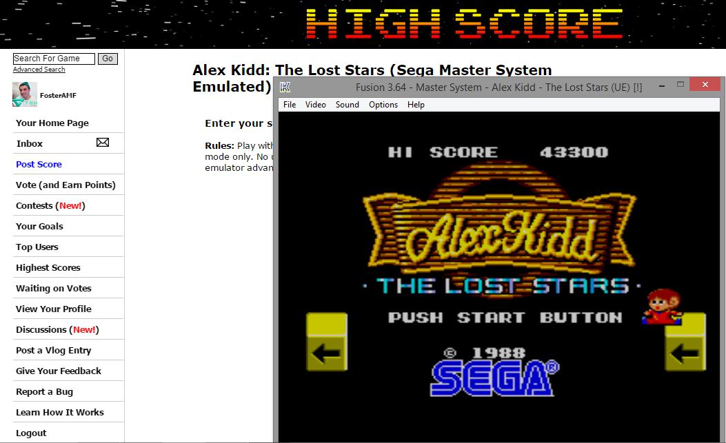 Alex Kidd: The Lost Stars 43,300 points