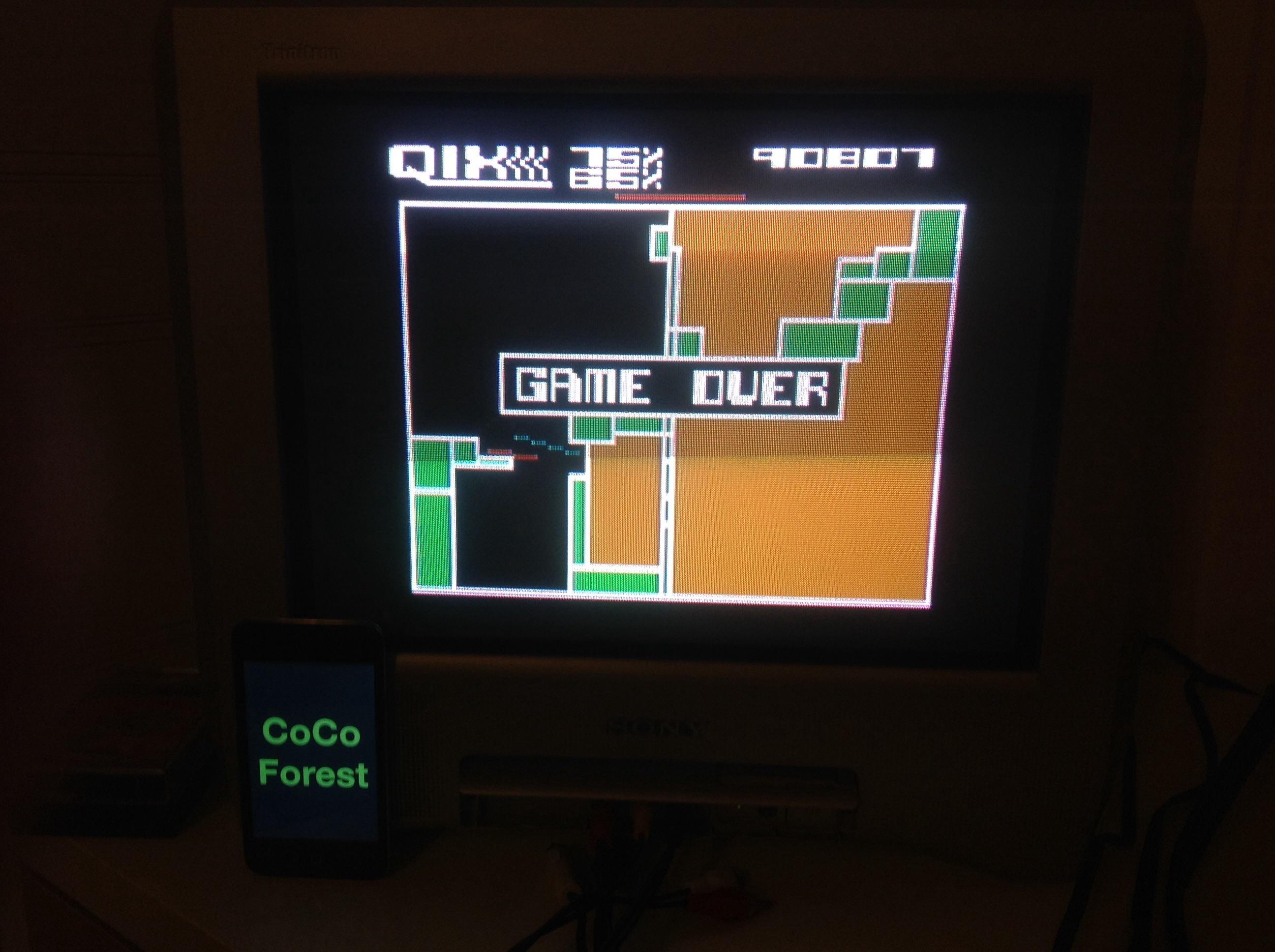 CoCoForest: Qix: Advanced (Atari 5200) 90,807 points on 2014-11-03 11:09:42