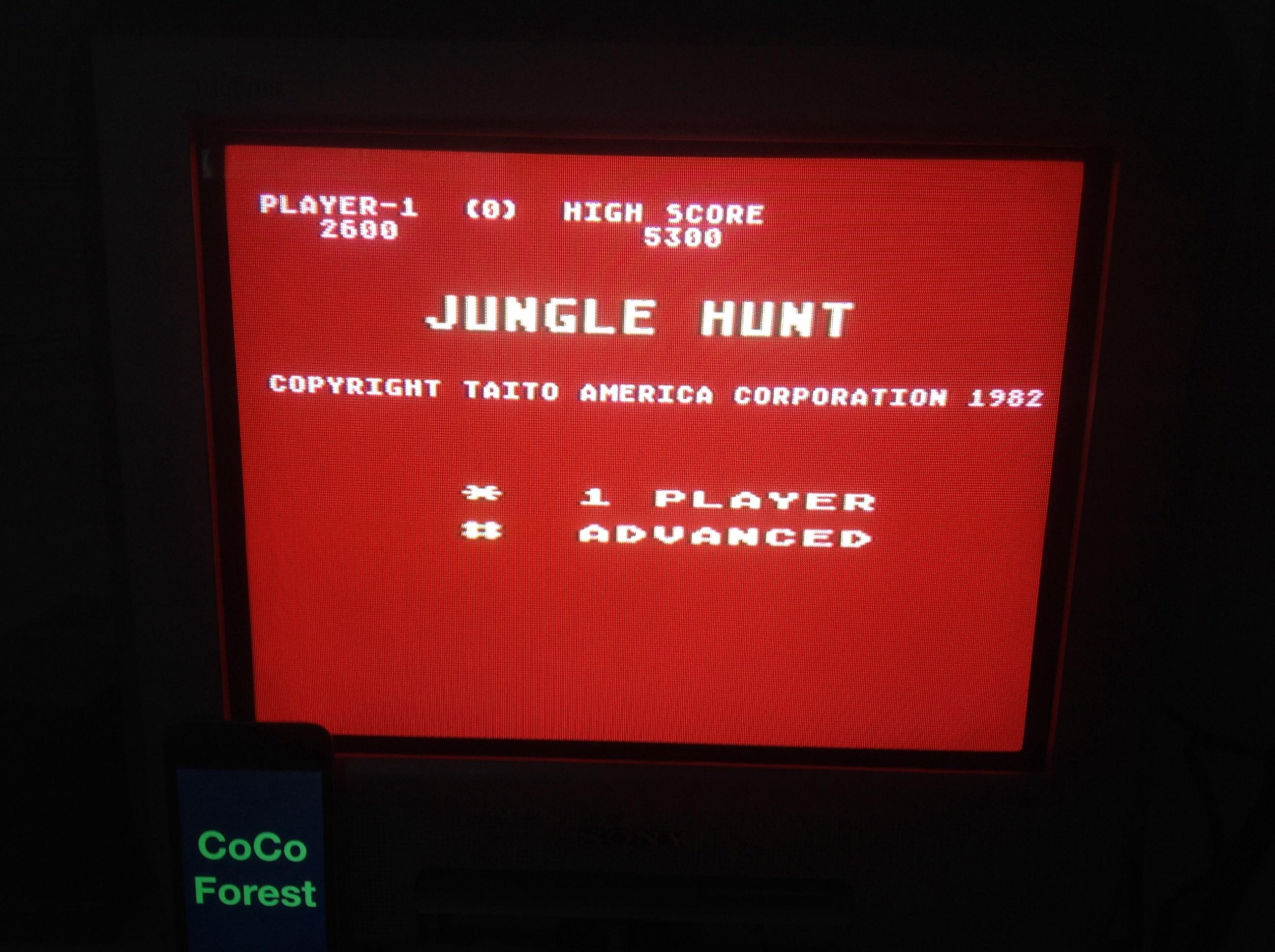 CoCoForest: Jungle Hunt: Advanced (Atari 5200) 2,600 points on 2014-11-04 09:00:50