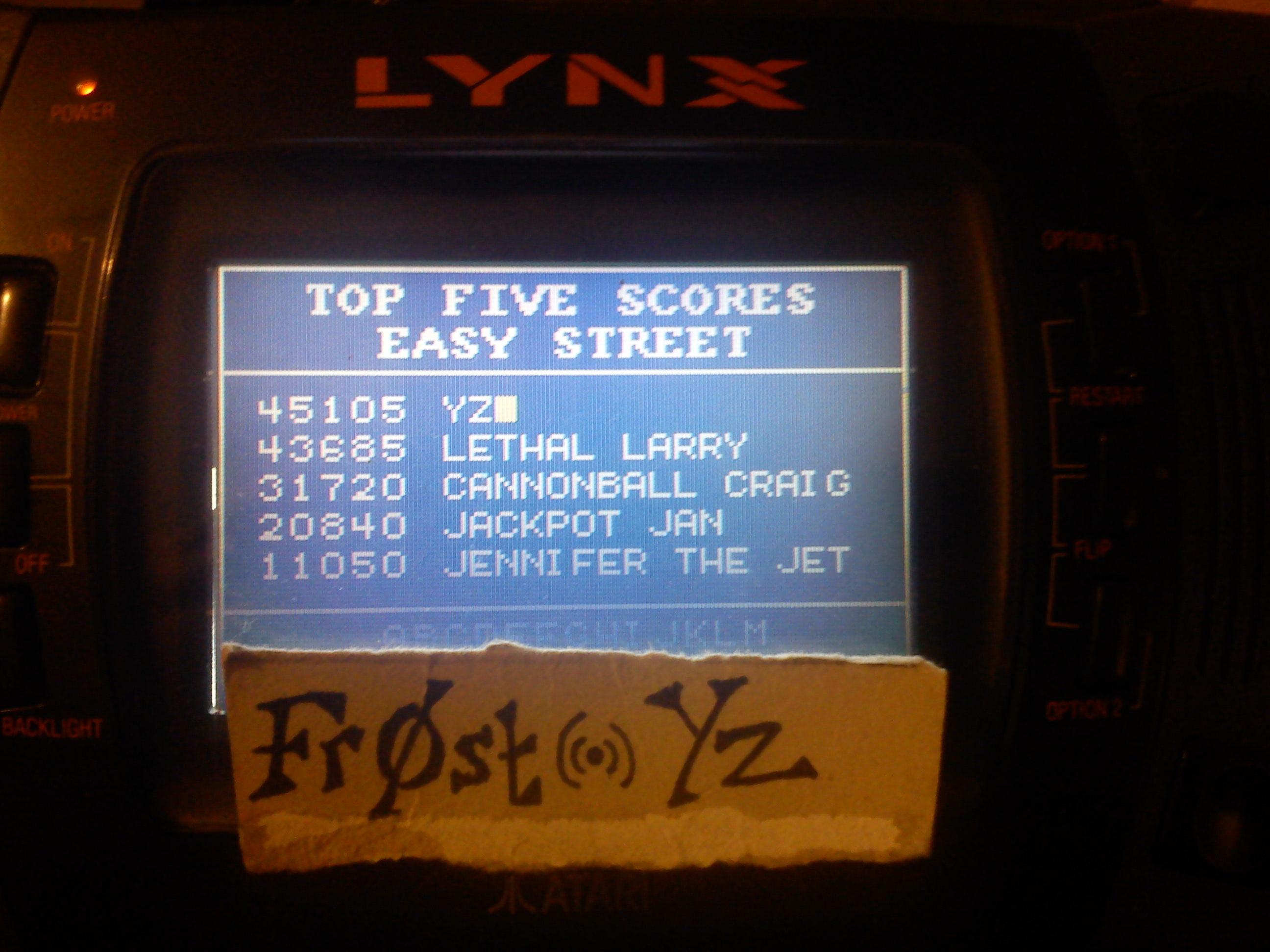 Fr0st: Paperboy: Easy Street (Atari Lynx) 45,105 points on 2014-11-04 13:30:59