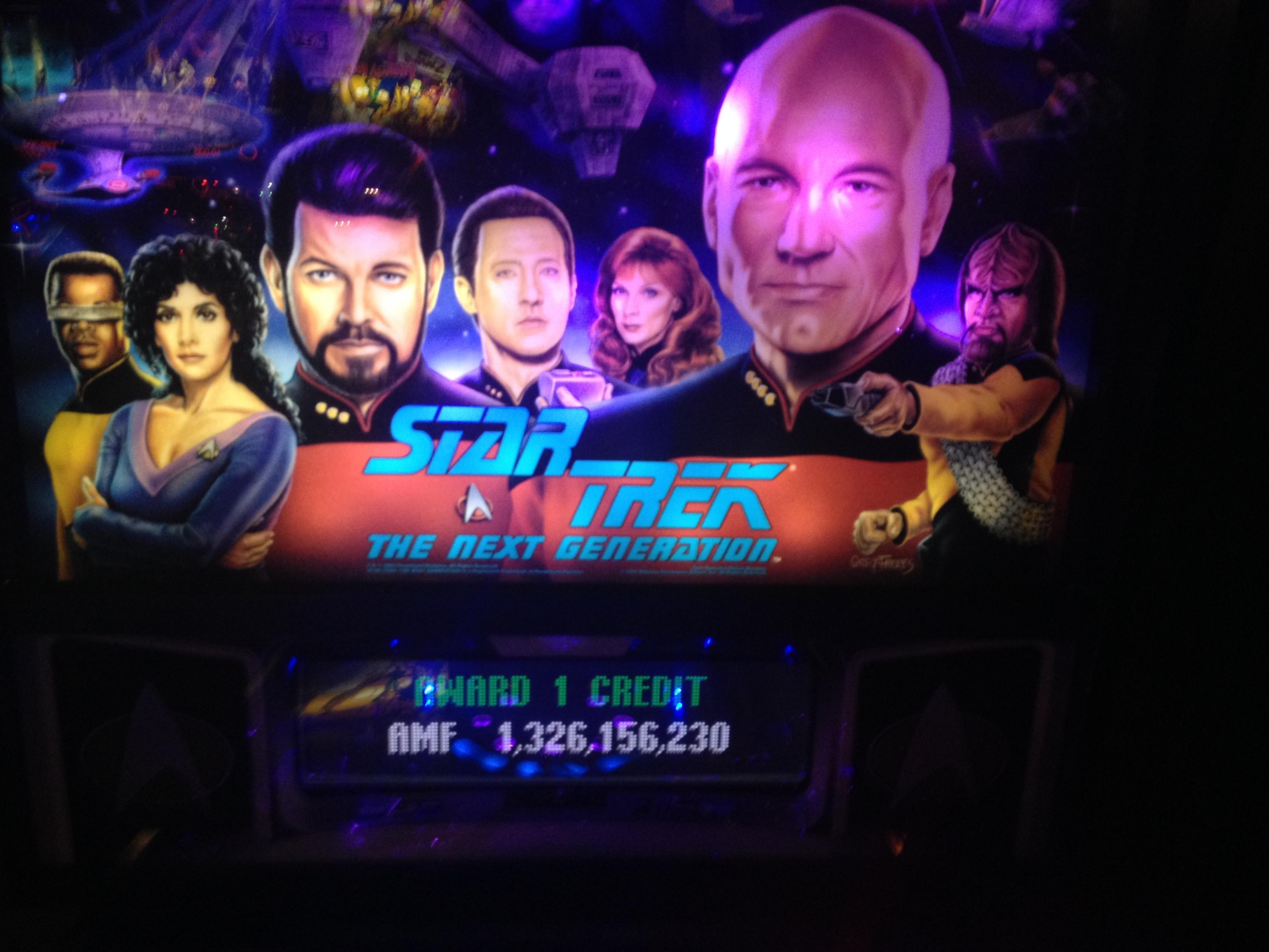FosterAMF: Star Trek: The Next Generation (Pinball: 3 Balls) 1,326,156,230 points on 2014-11-05 20:09:59