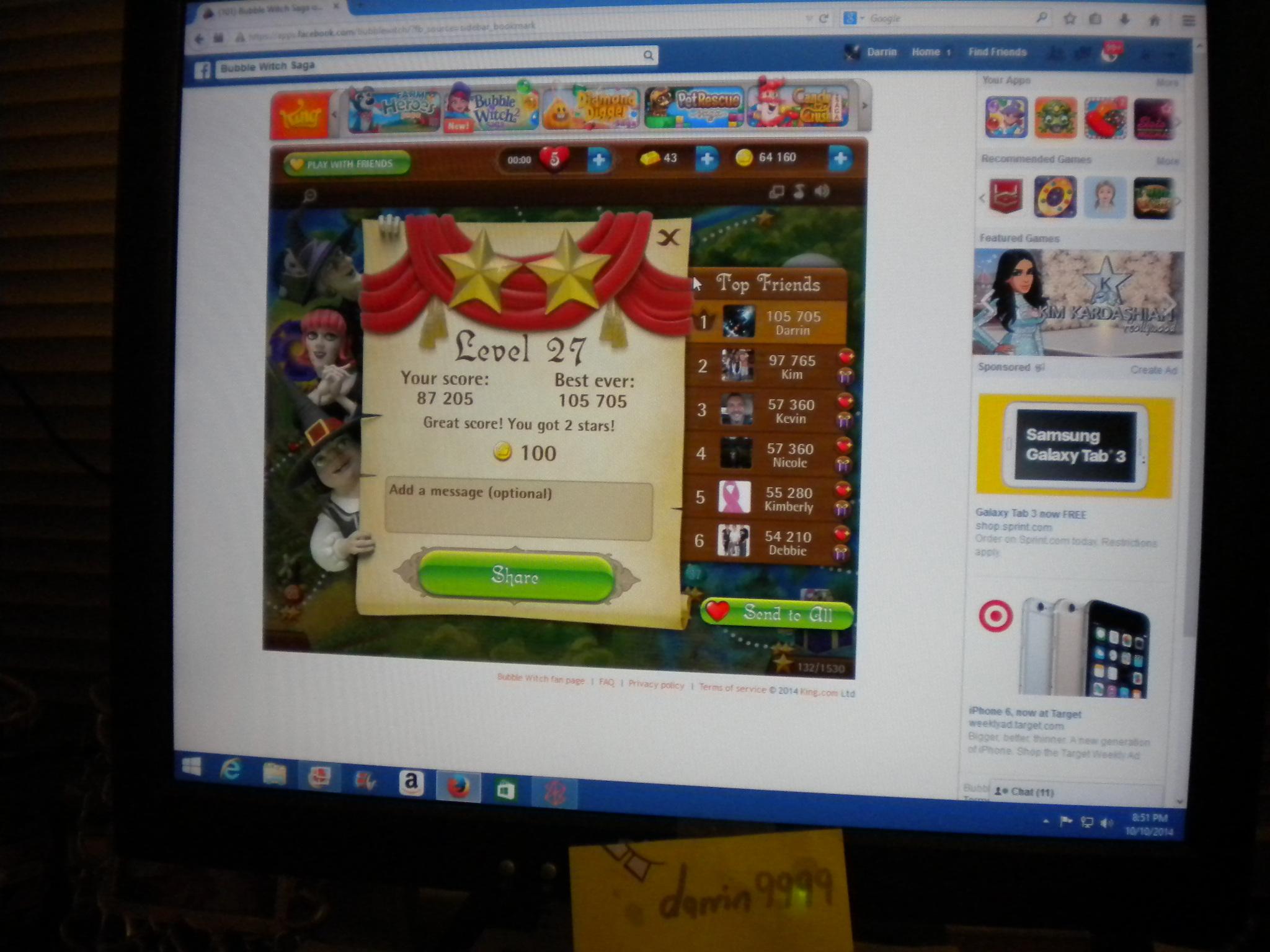 Bubble Witch Saga: Level 27 105,705 points