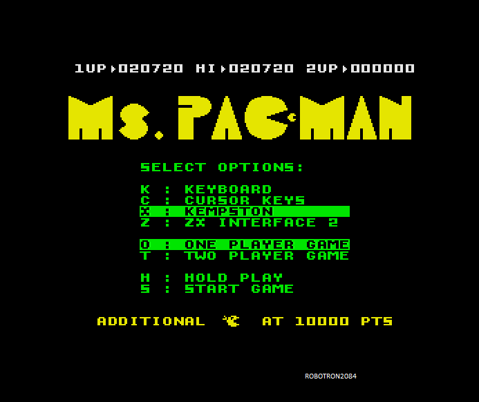 Robotron2084: Ms. Pac-Man (ZX Spectrum Emulated) 20,720 points on 2013-10-14 15:16:26