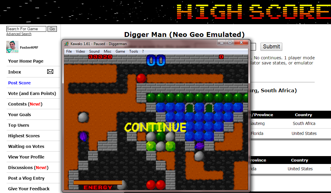 FosterAMF: Digger Man (Neo Geo Emulated) 33,320 points on 2014-11-08 00:43:45