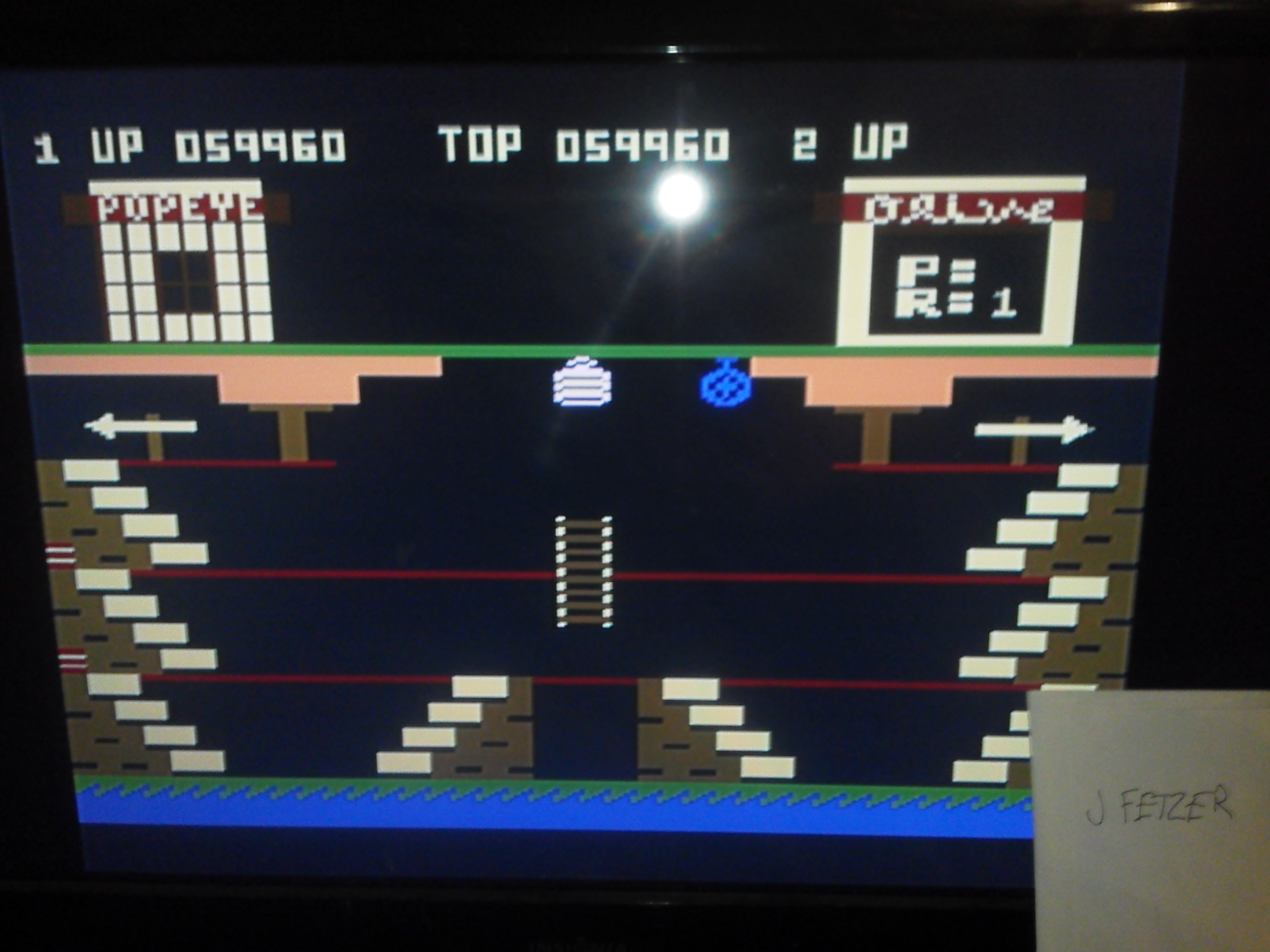jfetzer: Popeye (Atari 5200 Emulated) 59,960 points on 2014-11-11 19:16:00