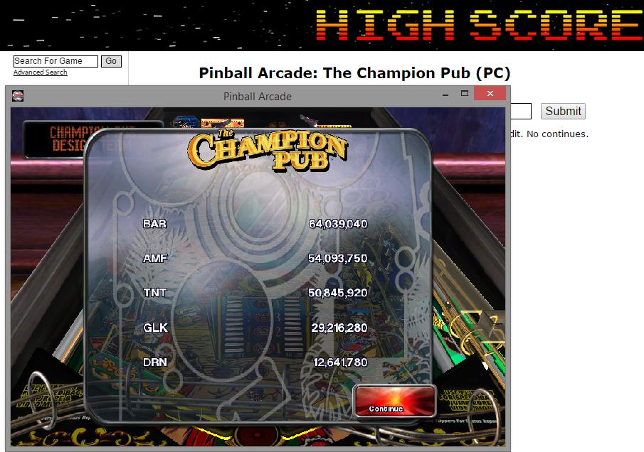 FosterAMF: Pinball Arcade: The Champion Pub (PC) 54,093,750 points on 2014-11-12 02:11:00
