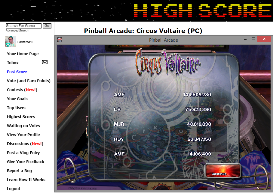 FosterAMF: Pinball Arcade: Circus Voltaire (PC) 144,509,280 points on 2014-11-12 02:47:59