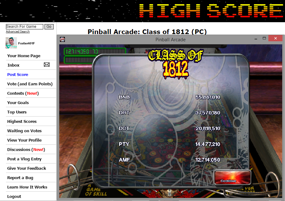 FosterAMF: Pinball Arcade: Class of 1812 (PC) 12,714,050 points on 2014-11-12 03:05:56