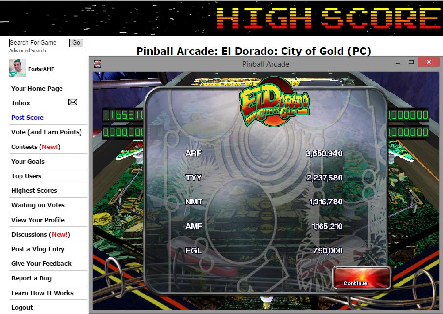 FosterAMF: Pinball Arcade: El Dorado: City of Gold (PC) 1,165,210 points on 2014-11-12 03:23:00
