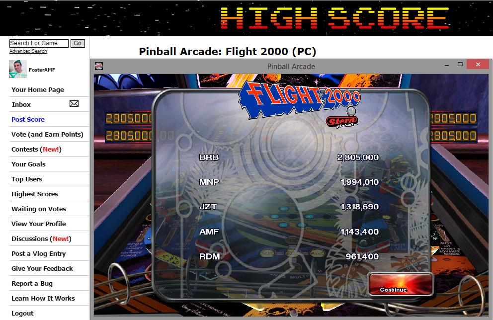 FosterAMF: Pinball Arcade: Flight 2000 (PC) 1,143,400 points on 2014-11-12 15:12:01