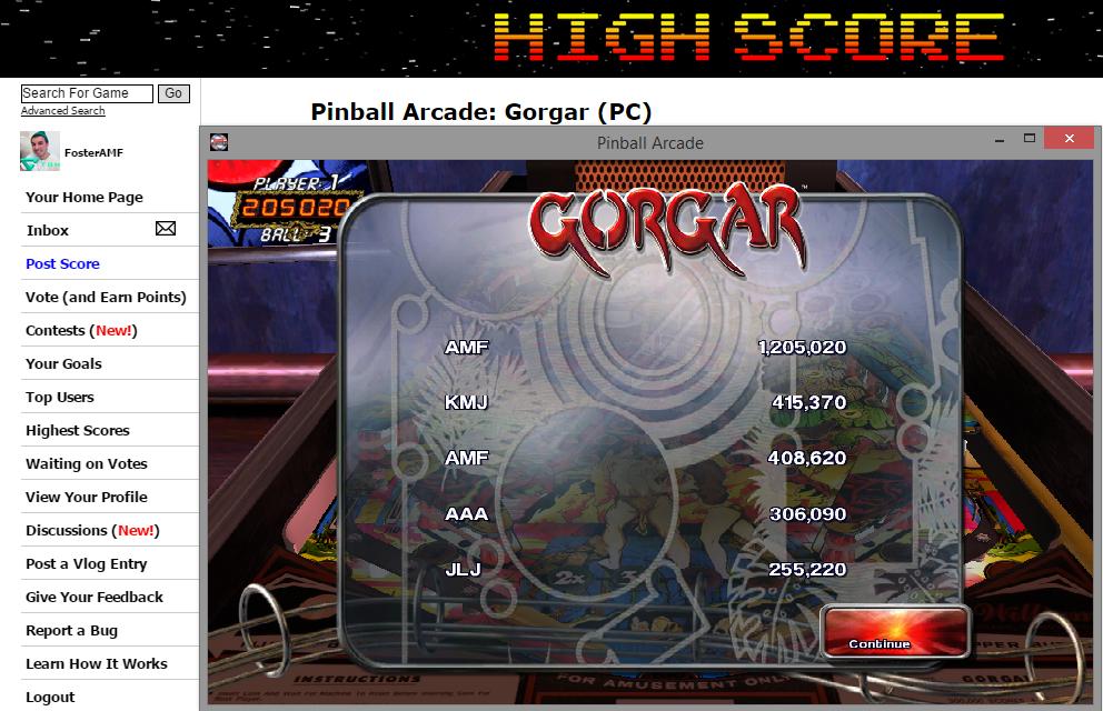 FosterAMF: Pinball Arcade: Gorgar (PC) 1,205,020 points on 2014-11-12 16:28:58