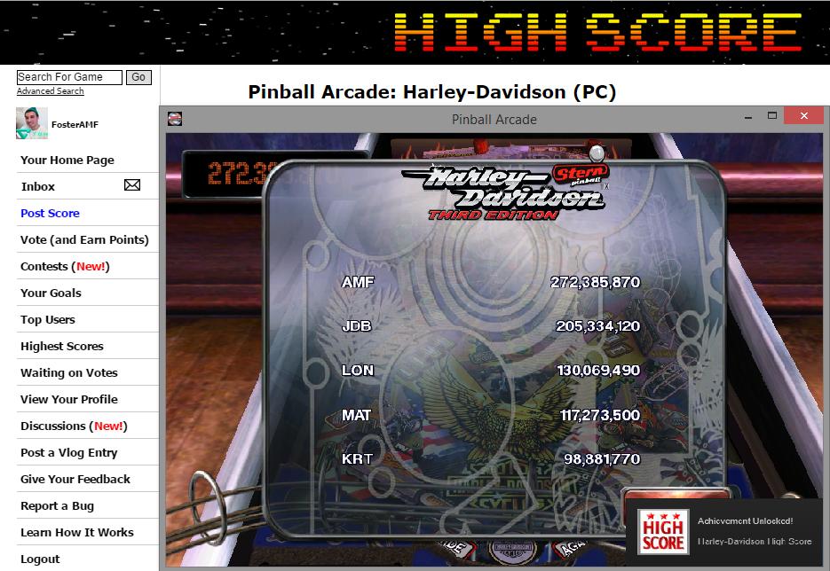 FosterAMF: Pinball Arcade: Harley-Davidson (PC) 272,385,870 points on 2014-11-12 17:39:57