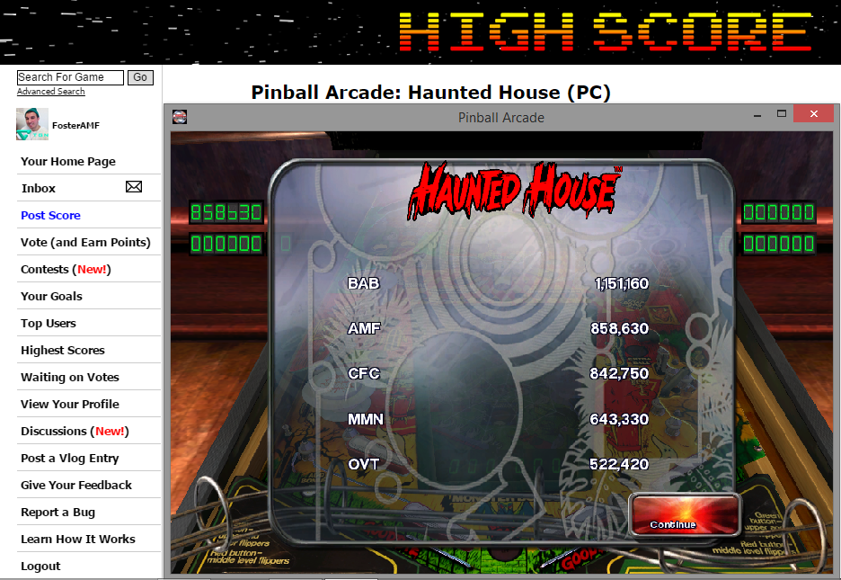 FosterAMF: Pinball Arcade: Haunted House (PC) 858,630 points on 2014-11-12 18:29:13