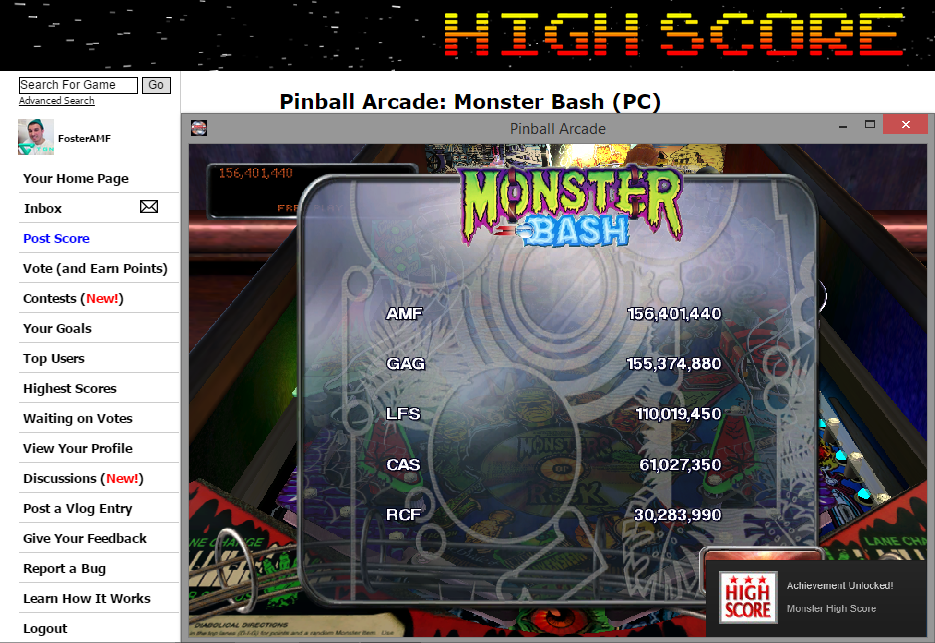 FosterAMF: Pinball Arcade: Monster Bash (PC) 156,401,440 points on 2014-11-12 18:44:45