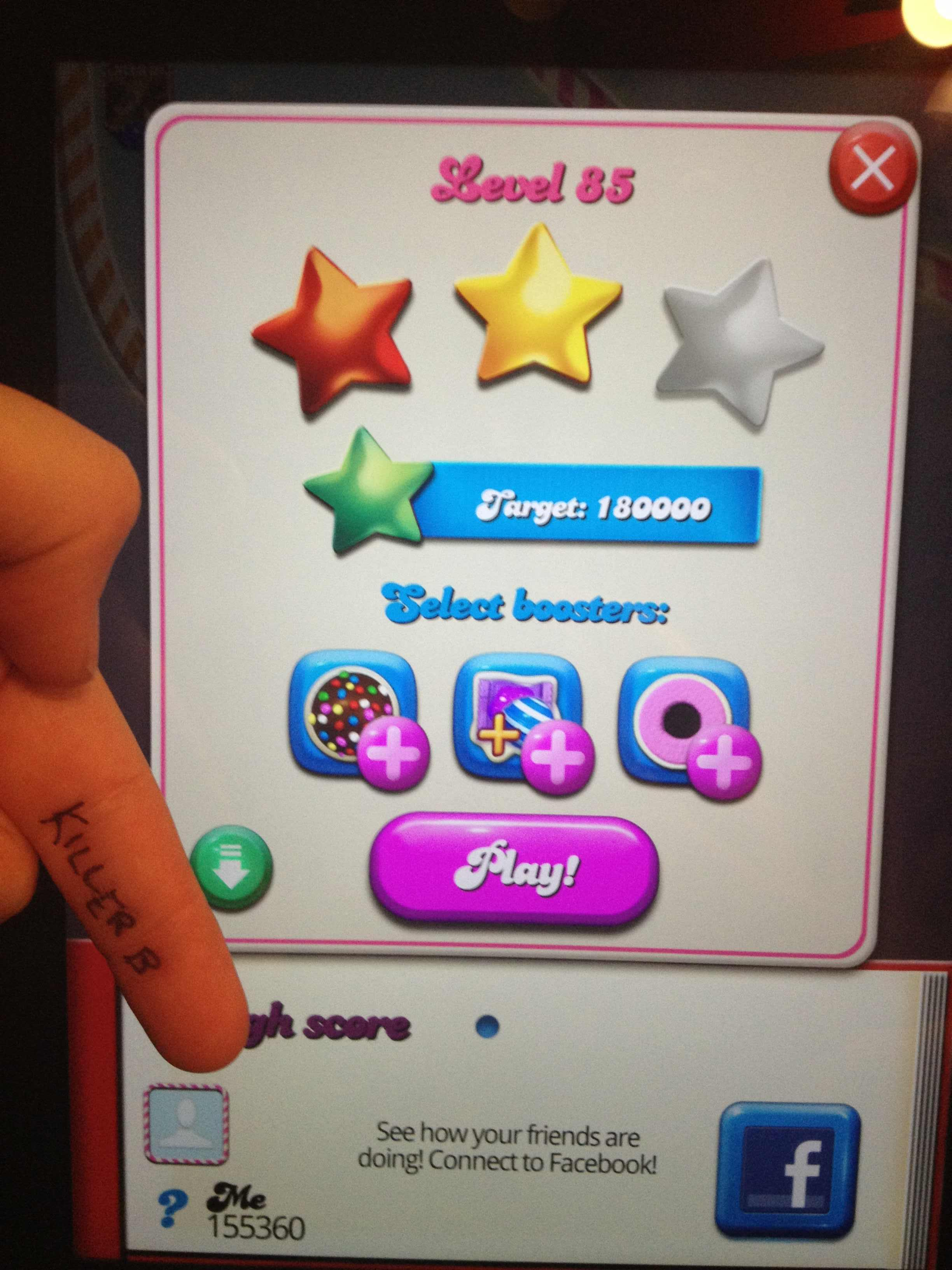 KillerB: Candy Crush Saga: Level 085 (iOS) 155,360 points on 2013-10-14 23:16:43