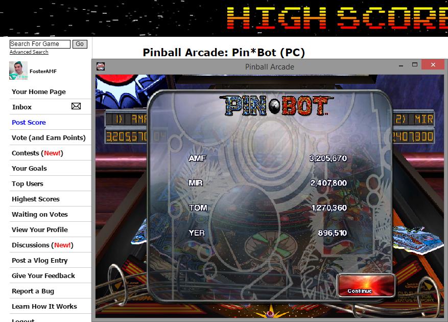 FosterAMF: Pinball Arcade: Pin*Bot (PC) 3,205,670 points on 2014-11-14 20:24:44