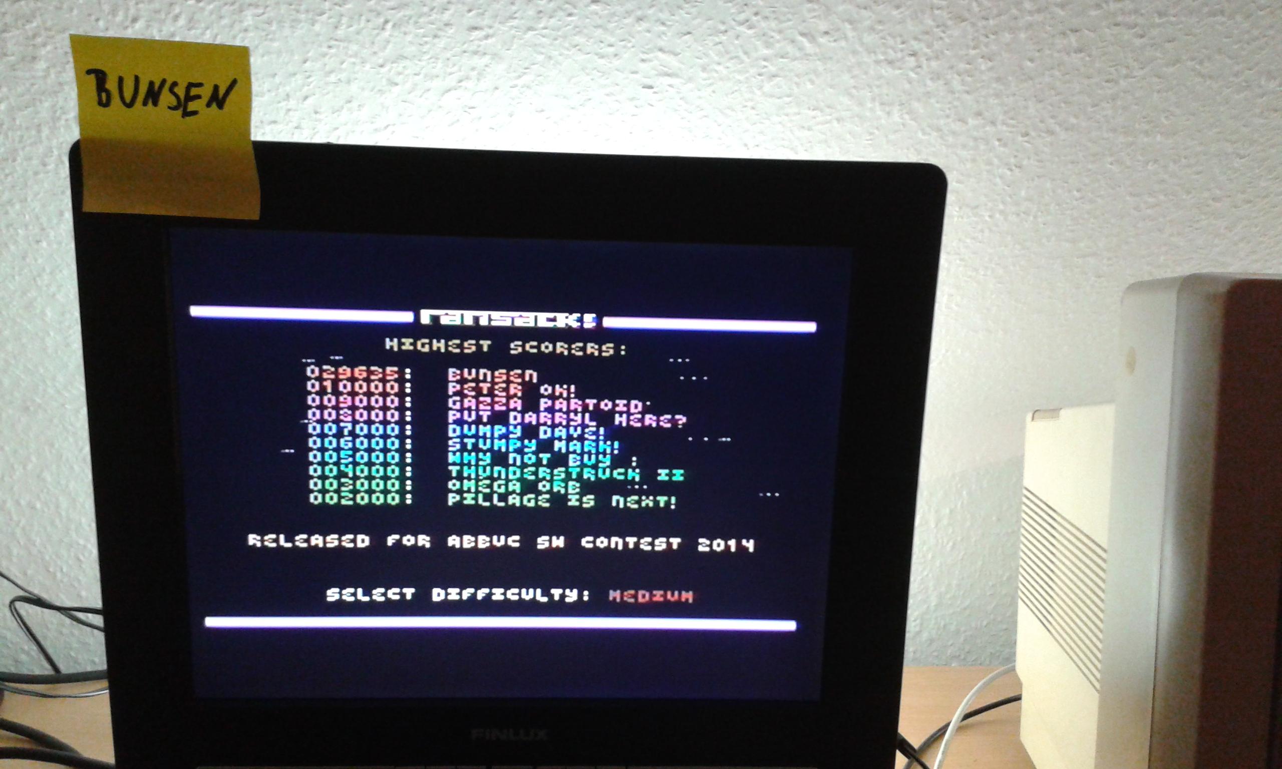 Bunsen: Ransack! (Atari 400/800/XL/XE) 29,635 points on 2014-11-15 04:19:33