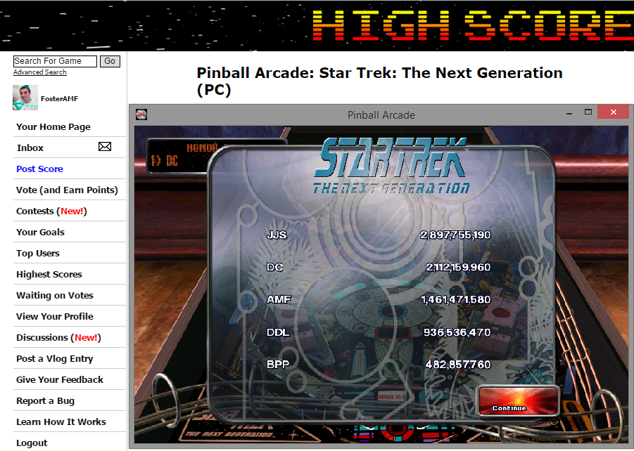 Pinball Arcade: Star Trek: The Next Generation 1,461,471,580 points