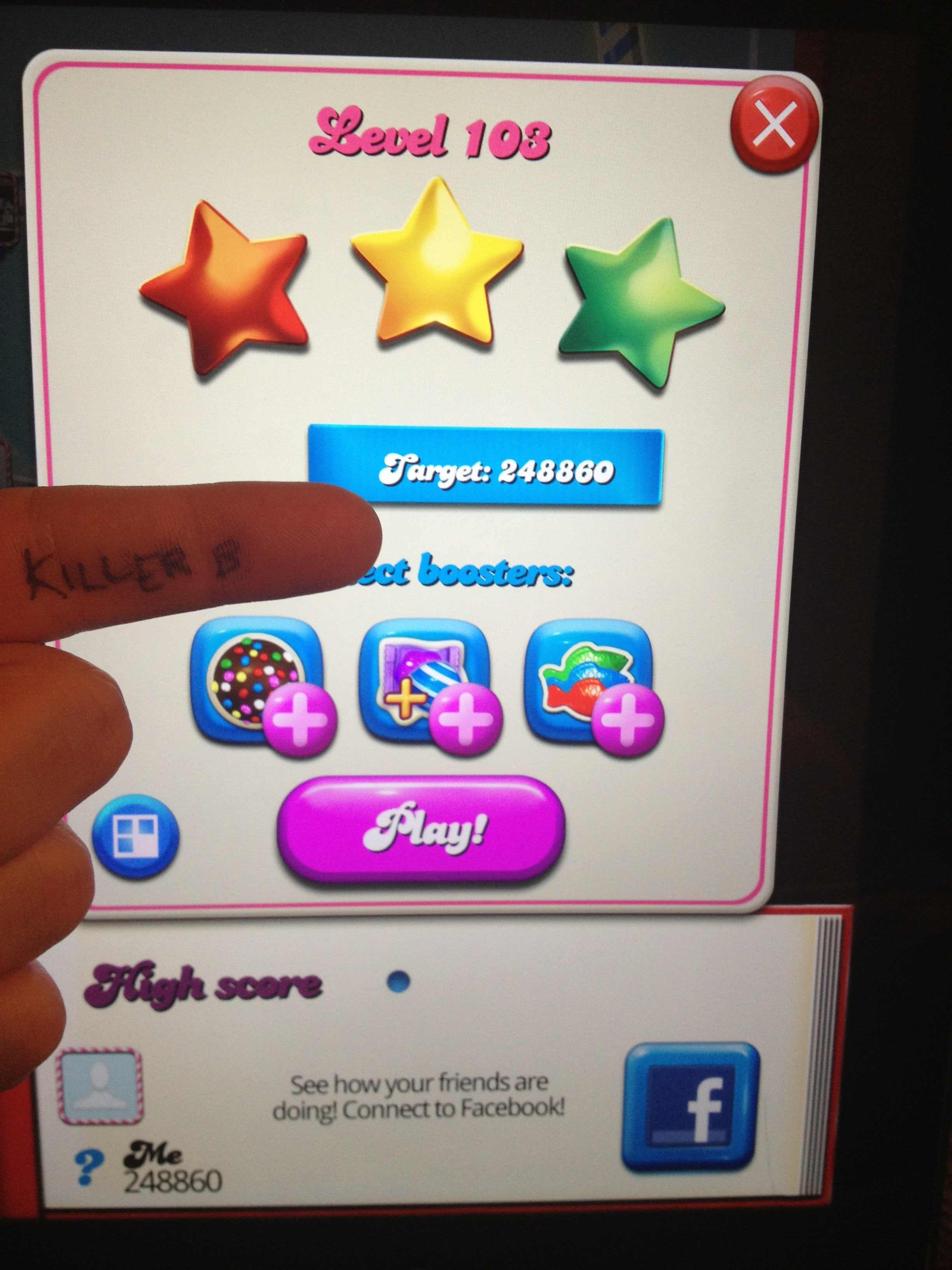 KillerB: Candy Crush Saga: Level 103 (iOS) 248,860 points on 2013-10-15 00:17:25
