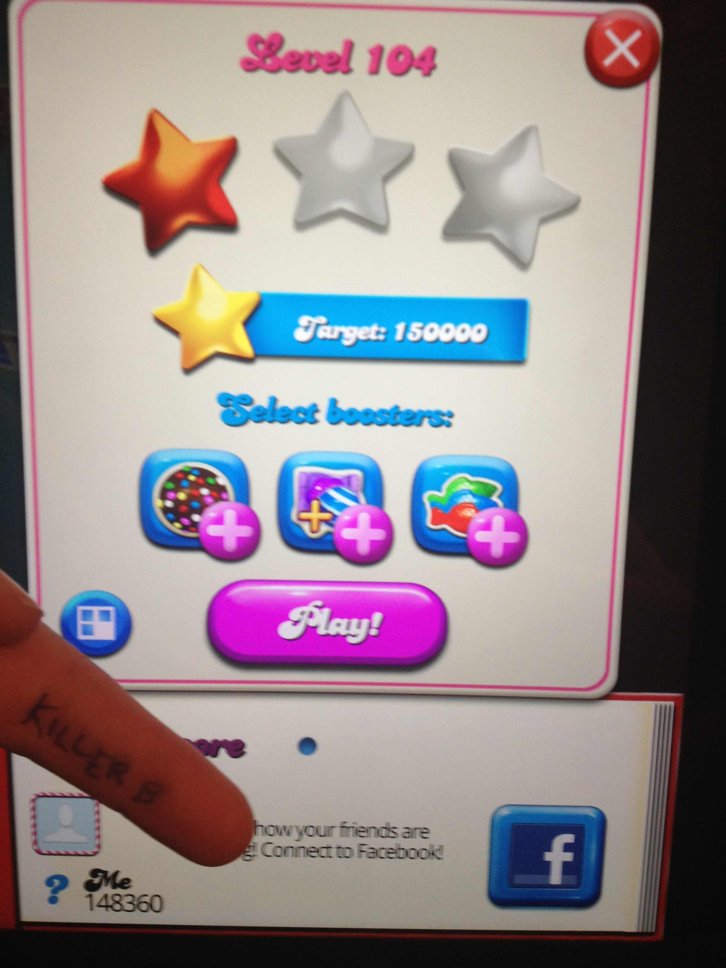 KillerB: Candy Crush Saga: Level 104 (iOS) 148,360 points on 2013-10-15 00:18:10