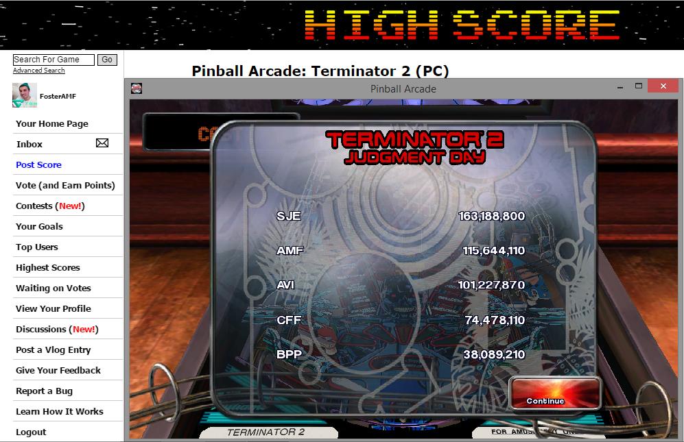 FosterAMF: Pinball Arcade: Terminator 2 (PC) 115,644,110 points on 2014-11-16 18:49:24