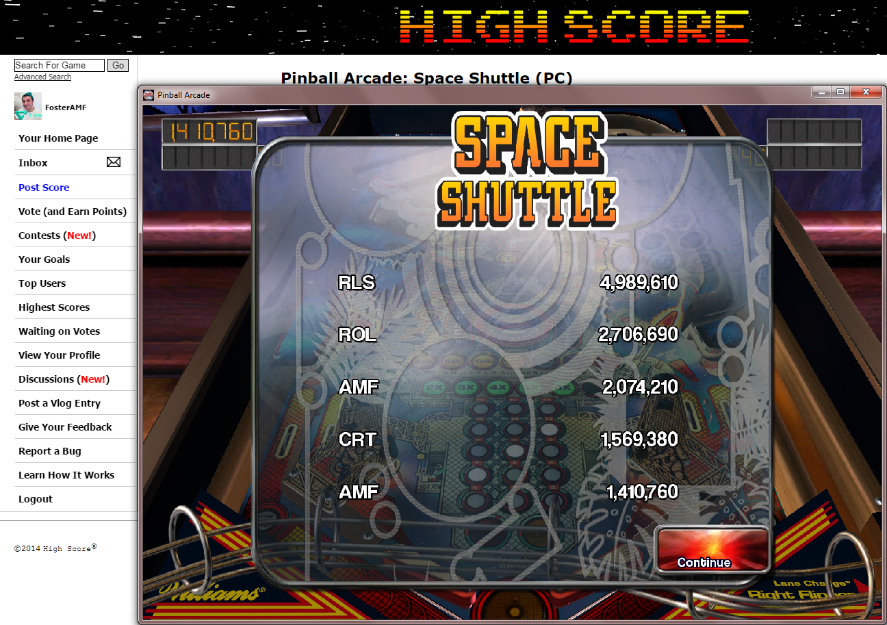 FosterAMF: Pinball Arcade: Space Shuttle (PC) 2,074,210 points on 2014-11-17 02:02:14