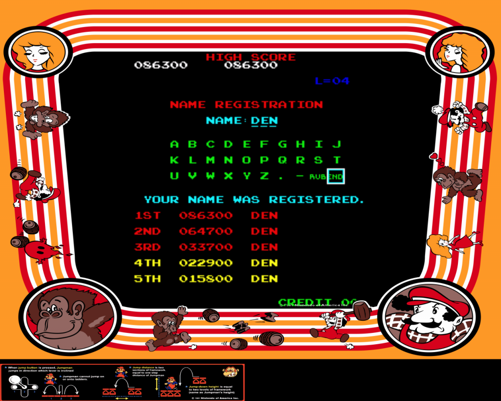 GimmeClassics: Donkey Kong (Arcade Emulated / M.A.M.E.) 86,300 points on 2013-09-08 12:44:10