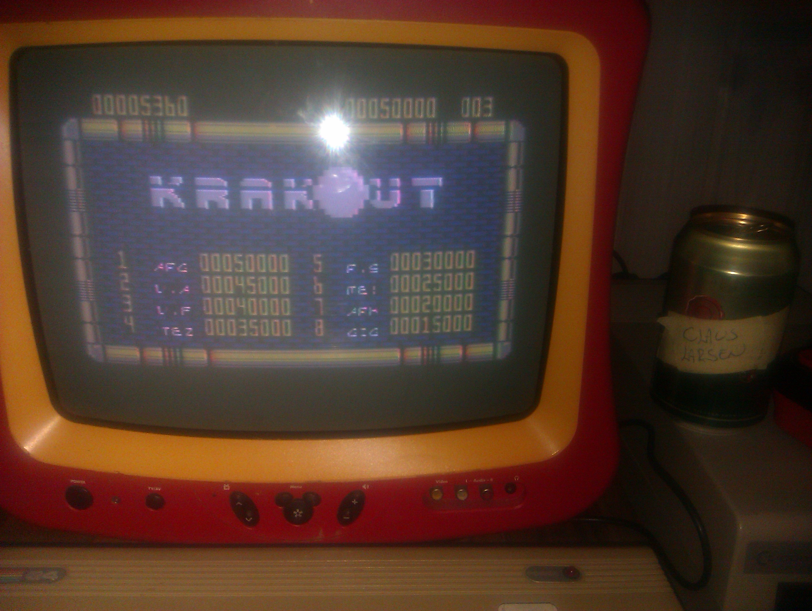 ClausLarsen: Krakout (Commodore 64) 5,360 points on 2014-11-19 15:50:24
